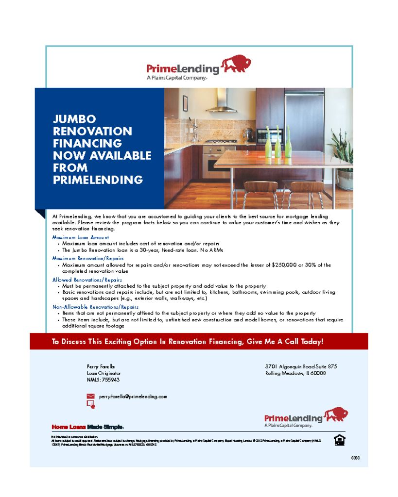 thumbnail of Jumbo Renovation Financing Available From PrimeLending Flyer Business