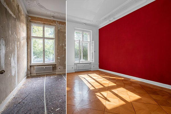 interior before and after red walls