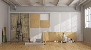 during renovation interior white walls