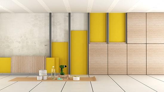 during renovation interior yellow walls
